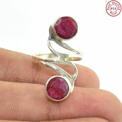 Solid 925 Sterling Silver 2 Gems Royal Ruby Handmade Ring Jewellery S 6.5 AF339