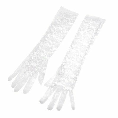 Pair Party Full finger Elbow Length Floral Print Lace Gloves White for Lady 13HE