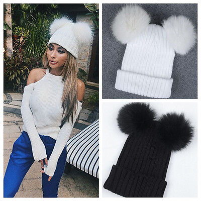 Cheapest Women Winter Warm Outdoor Chunky Knit with Fur Pom Pom Cute Beanie Hat