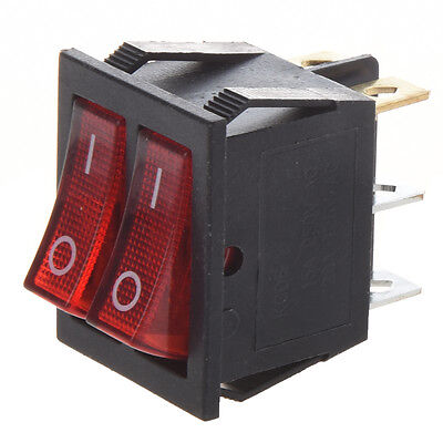 Red Light Illuminated 6 Pin Dual SPST ON/OFF Boat Rocker Switch AC 15A/250V 13HE