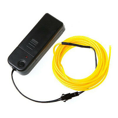 3M Flexible Neon Light EL Wire Rope Tube with Controller (Yellow) Z5Z5 13HE