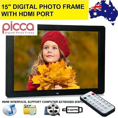 """PICCA 15"""" LED HD 1080P Digital Photo Frame HDMI as Extended Monitor TFT Remote"""