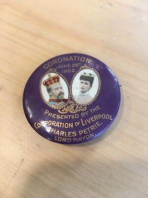 1902 Coronation Pin Badge Presented By The Corporation Of Liverpool