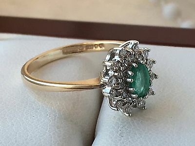 Lovely Vintage Solid 9ct Gold Diamond And Emerald Cluster Ring Size L