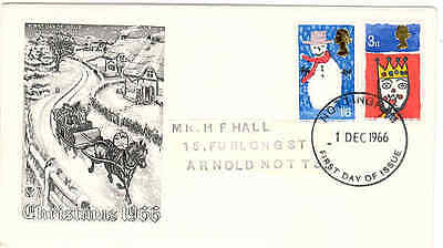 1966 Christmas Stuart fdc Nottingham First Day of issue cancel