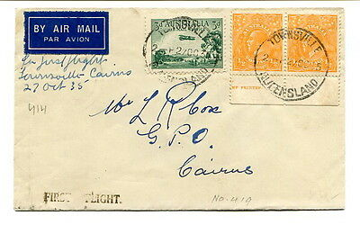 Australia 1935 (27th. October) First Flight Air Mail cover Townsville to Cairns