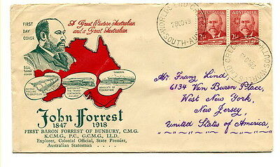 Australia 1949 John, Lord Forest of Bunbury illustrated first day cover to U.S.A