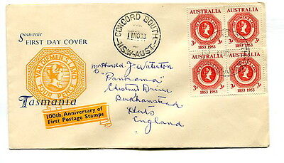 Australia 1953 Tasmanian Stamp Centenary illustrated first day cover to UK