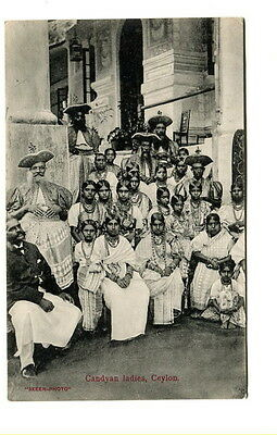 "Ceylon early 20th. Century unused b/w ""Skeen Photo"" Post Card ""Candyan Ladies"""