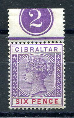 """Gibraltar 1898 6d. violet and red mint single with plate number """"2"""" above. SG44"""