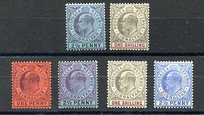 Gibraltar 1903-11 EVII 6 different mint stamps values to 1/- (x2) slight faults