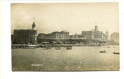 """Singapore early 20th C. unused photo Post Card """"Singapore"""" Harbour View #2"""