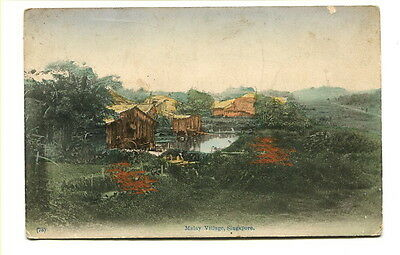 """Singapore early 20th. Century unused colour Post Card """"Malay Village"""""""