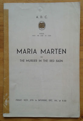 Maria Marten or The Murder In The Red Barn programme The A.D.C. 1930s