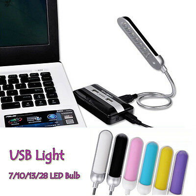 Flexible Bright Mini 7 LED USB Light Computer Lamp for Notebook PC Yellow