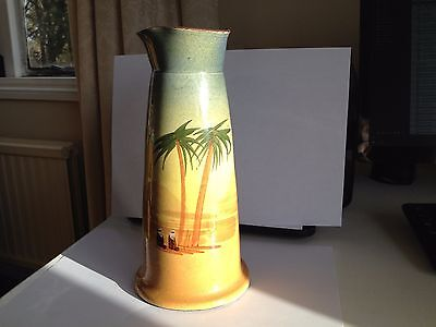 Large Torquay Pottery vase with desert scene decoration