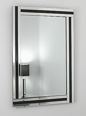 "Fiorina Black Glass Framed Rectangle Bevelled Wall Mirror 48"" x 32"" X Large"