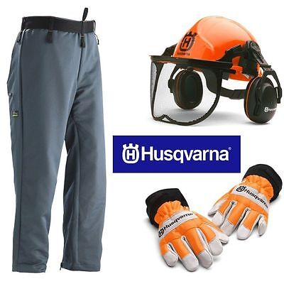 HUSQVARNA Protective Chainsaw Safety Kit - Helmet Gloves Trousers