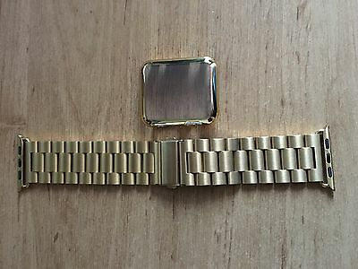 Apple Watch Stainless Steel 42mm Strap/Bracelet GOLD (free cover/case)