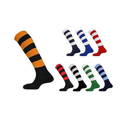 Mitre & Prostar Mercury Hooped Socks For Football & Rugby - Adult Sizes