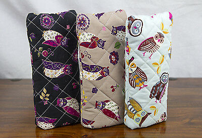 Slip In Glasses Case Quilted Soft Thickly Padded Novelty Owl Patterns