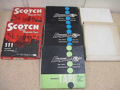 """Vintage Job Lot Used 7 x 7"""" Reel to Reel Tapes.Scotch 3M,Tonemaster,Brenell,BASF"""