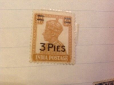India postage 3 pies stamp yellow