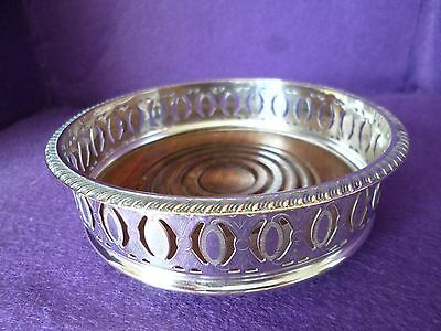 January Offer - A Fabulous Vintage Silver Plated / Wood Base Wine Coaster
