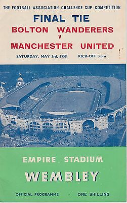 BOLTON WANDERERS v MANCHESTER UNITED FA CUP FINAL 3 MAY 1958 ORIGINAL PROGRAMME