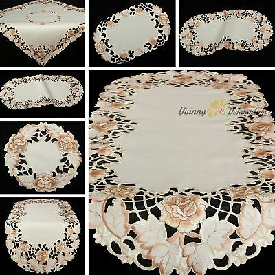 Bronze Roses Flowers Open Embroidery Table runner Tablecloth Doily Cream
