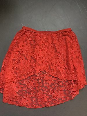 Red Lace Ballet Skirt. Size Small