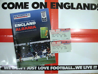 ENGLAND v ALBANIA 2001-02 WORLD CUP QUALIFIER PROGRAMME & 2 TICKETS AT NEWCASTLE