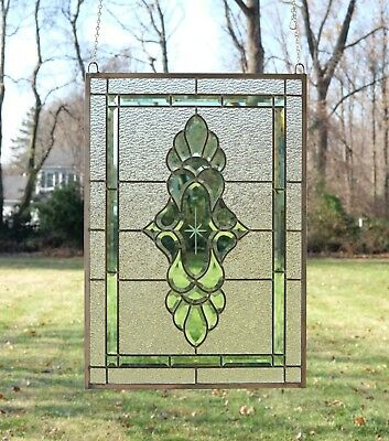 "Tiffany Style stained glass Green & Clear Beveled window panel 19"" x 27"""