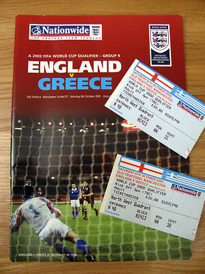 ENGLAND v GREECE 2001-02 WORLD CUP QUALIFIER PROGRAMME & 2 TICKETS AT MANCHESTER