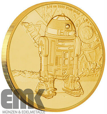 Niue - 25 Dollar 2016 - R2-D2 - Star Wars (4.) - 1/4 Oz. Gold Polierte Platte