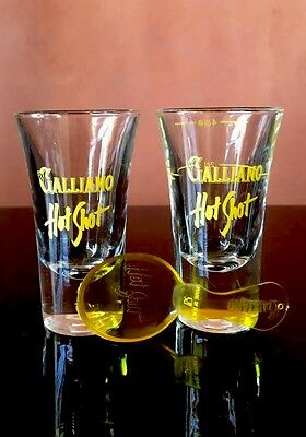 Two Galliano Liqueur Hot Shot Glasses With Spoon