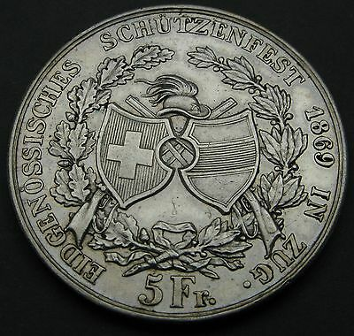 SWITZERLAND 5 Francs 1869 - Silver - Shooting Festival - XF- #2960
