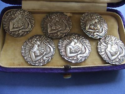 Cased set of 6 solid silver art nouveau buttons. Birmingham 1901