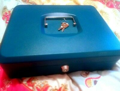 Solid SECURITY LOCK CASH BOX SAFE Blue with 2 keys roughly 30x20cm