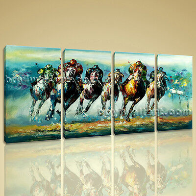 Large Wall Art Famous Horse Racing Abstract Painting On Canvas Print Framed