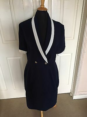 True Vintage Mark Angelo Skirt Suit In Navy & White Nautical Theme Size 12