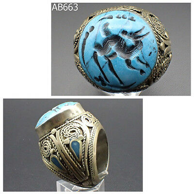 Big Old Post Medieval Turquoise with Wolf Intaglio Silver Ring #663