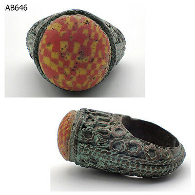Rare Mosaic Ancient Roman Glass Lovely Bronze Ring Size 8 #646