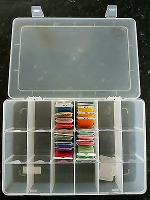 Plastic Storage box with 18 compartments inc 20 bobbins with DMC thread