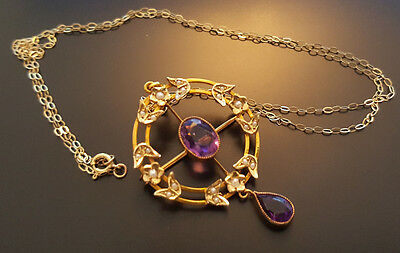 Art Nouveau Victorian/Edwardian Era Seed Pearl Amethyst 9ct Yellow Gold Necklace