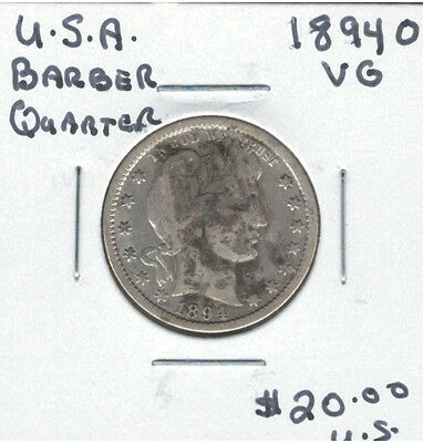 United States USA 1894O Quarter 25 Cents VG Barber