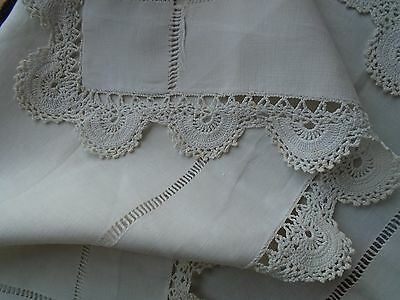 Vintage Irish Linen Tablecloth - Hand Crochet Cotton Lace Trim