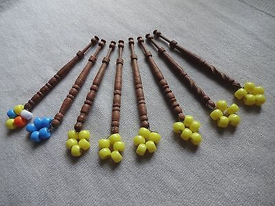Eight East Midlands Turned Hard Wood Lace Maker's Bobbins With Spangles