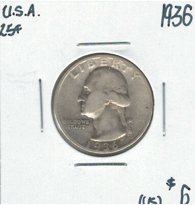 United States USA 1936 Quarter 25 Cents Washington