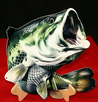 "LARGEMOUTH BASS WALL SIGN -16""X15""- FLAT METAL SIGN - PhotoSTEEL"